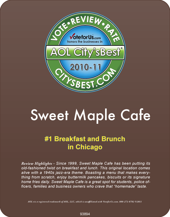 AOL City's Best Award, #1 Breakfast in Chicago