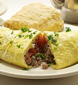 Omelet with Cheese, Sausage and Tomato and a Sweet Milk Biscuit