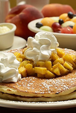 Peach Pancakes with Whipped Cream